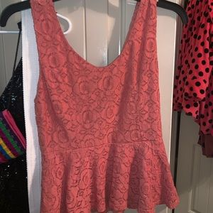 Peach crop tank with zip in back
